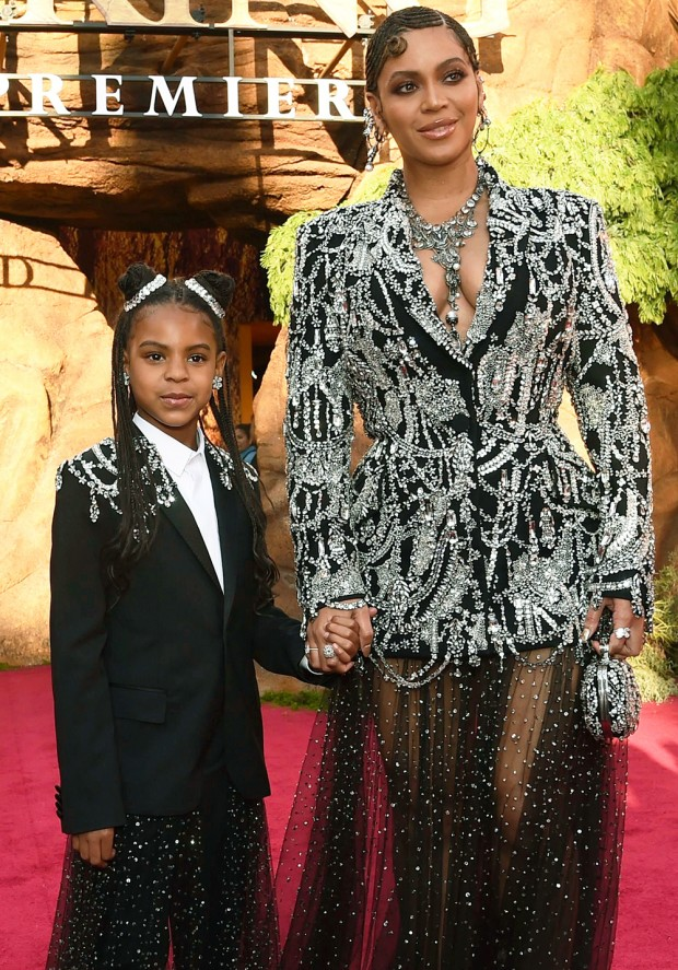 """Mandatory Credit: Photo by Chris Pizzello/Invision/AP/Shutterstock (10331318ag) Beyonce, Blue Ivy Carter. Beyonce, right, and her daughter Blue Ivy Carter arrive at the world premiere of """"The Lion King"""", at the Dolby Theatre in Los Angeles World Premiere of """"The Lion King"""" - Red Carpet, Los Angeles, USA - 09 Jul 2019"""