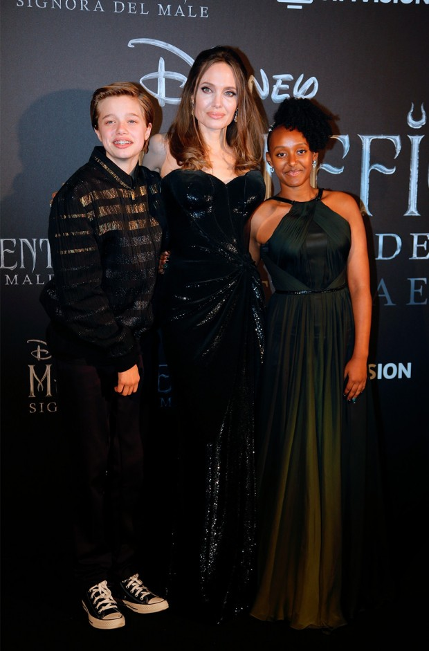 Mandatory Credit: Photo by Domenico Stinellis/AP/Shutterstock (10438454e) Actress Angelina Jolie arrives with her daughter Maddox Chivan, right, and son Shiloh, for the European premiere of the film 'Maleficient: mistress of evil', in Rome Maleficent Premiere, Rome, Italy - 07 Oct 2019