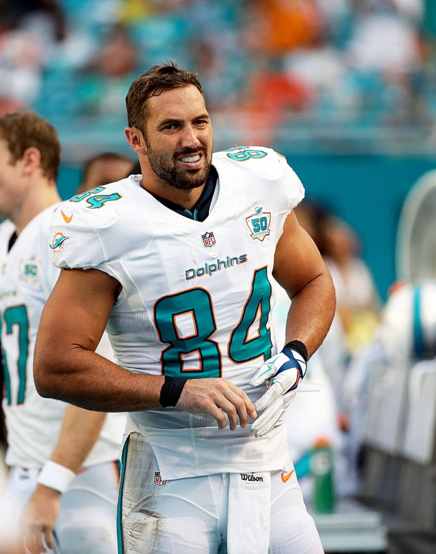 Mandatory Credit: Photo by Wilfredo Lee/AP/Shutterstock (6013233aj) Jordan Cameron Miami Dolphins tight end Jordan Cameron (84) walks the sidelines during the second half of an NFL football game against the Buffalo Bills, in Miami Gardens, Fla Bills Dolphins Football, Miami Gardens, USA