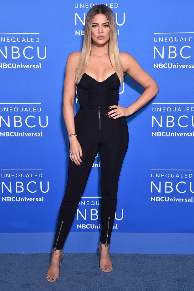 Mandatory Credit: Photo by Stephen Lovekin/REX/Shutterstock (8820977el) Khloe Kardashian NBCUniversal Upfront Presentation, Arrivals, New York, USA - 15 May 2017 WEARING VERSACE SAME OUTFIT AS CATWALK MODEL ROMEE STRIJD *6026174AT SHOES BY YEEZY
