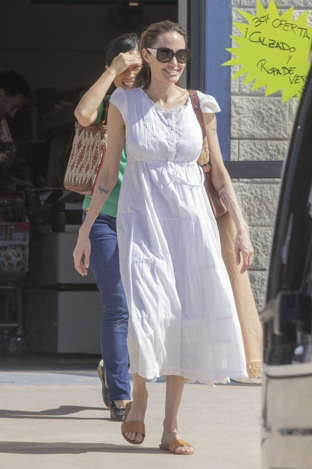 EXCLUSIVE: Angelina Jolie looks like skin and bones, sparking fresh concern over her health. The 44-year-old actress, who was hospitalised as a result of her anorexia as a teen, was seen with children Zahara, Knox and Vivienne on a shopping trip to a discount store on the Spanish Island of Fuerteventura. Jolie is about to start filming the Marvel movie The Eternals. 28 Oct 2019 Pictured: Angelina Jolie reunited with her children Zahara Knox and Vivienne as they go shopping in Fuerteventura, Spain. Photo credit: MEGA TheMegaAgency.com +1 888 505 6342 (Mega Agency TagID: MEGA537073_018.jpg) [Photo via Mega Agency]