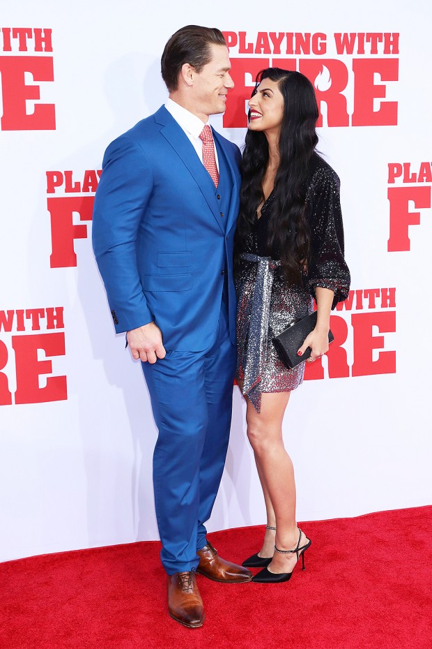 """Mandatory Credit: Photo by Greg Allen/Invision/AP/Shutterstock (10457294ab) John Cena, Shay Shariatzadeh. John Cena, left, and Shay Shariatzadeh attend the premiere of Paramount Pictures' """"Playing With Fire"""" at the AMC Lincoln Square on Saturday, Oct. 26, in New York NY Premiere of """"Playing With Fire"""", New York, USA - 26 Oct 2019"""