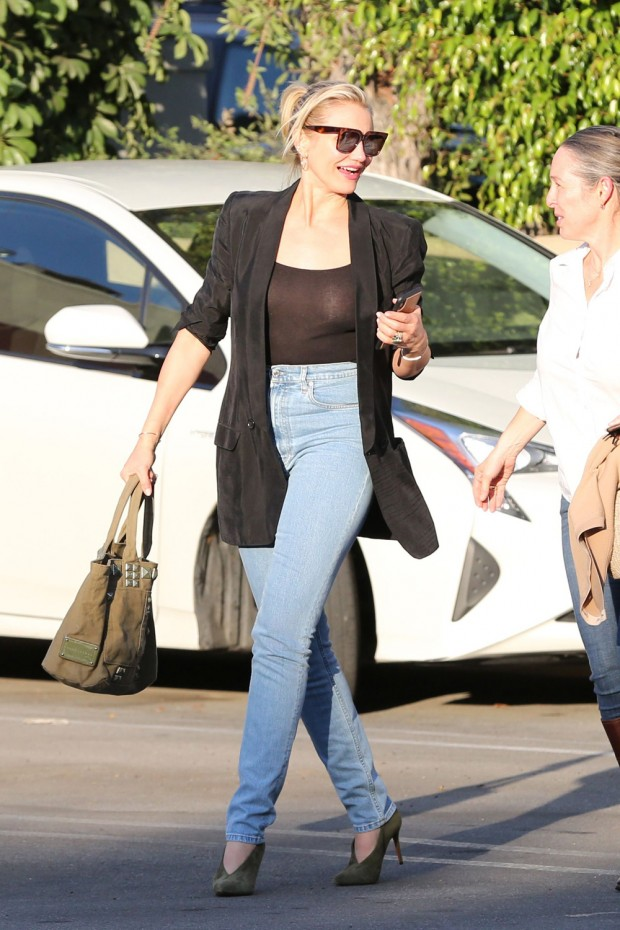 EXCLUSIVE: Cameron Diaz rocks a sheer see-through black top to lunch