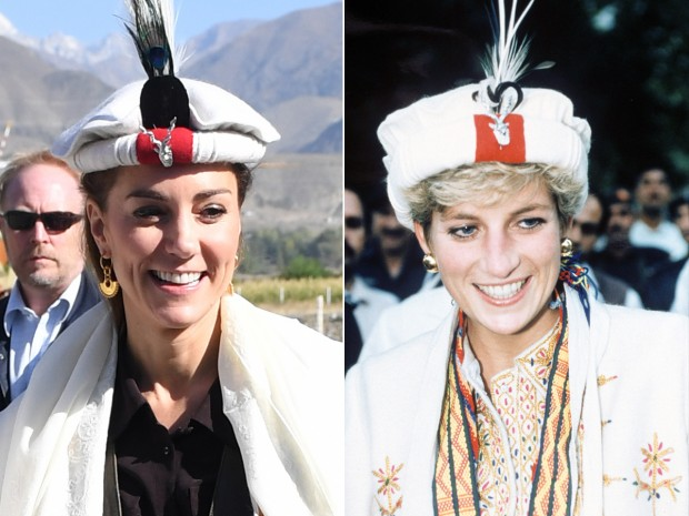 Prince William, Duke of Cambridge and Catherine, Duchess of Cambridge are welcomed as they arrive by helicopter on October 16, 2019 in Chitral, Pakistan. (Photo by Samir Hussein/WireImage) Mandatory Credit: Photo by Shutterstock (190485a) Princess Diana made an honorary Chitral scout Princess Diana on a royal tour of Pakistan - Sep 1991