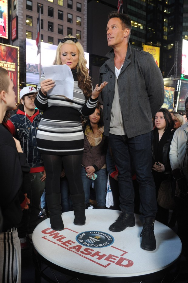Mandatory Credit: Photo by Diane Bondareff/Invision/AP/REX/Shutterstock (9086708s) Speed reader Trisha Paytas and Dan Cortese at the truTV & GUINNESS WORLD RECORDS event celebrating the premiere of the Guinness World Records Unleashed series, in New York's Times Square truTV & GUINNESS WORLD RECORDS Give New Yorkers Chance to Break Records at the Guinness World Records Unleashed Arena, New York, USA